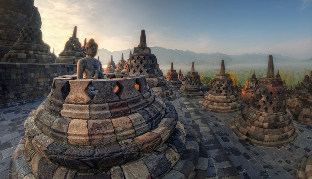 The sun rises over the spectacular temple complex of Borobudur
