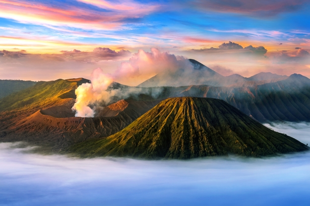 Mt Bromo rising out of the mist at sunrise