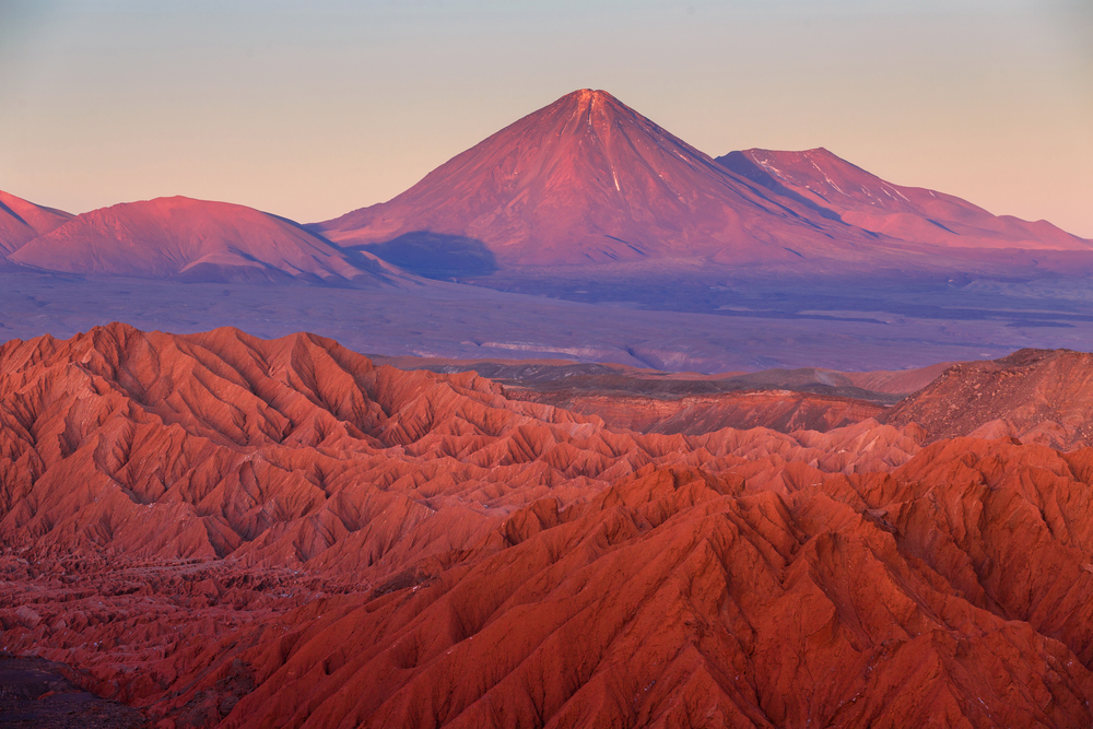 Views over the Atacama Desert at sunset.