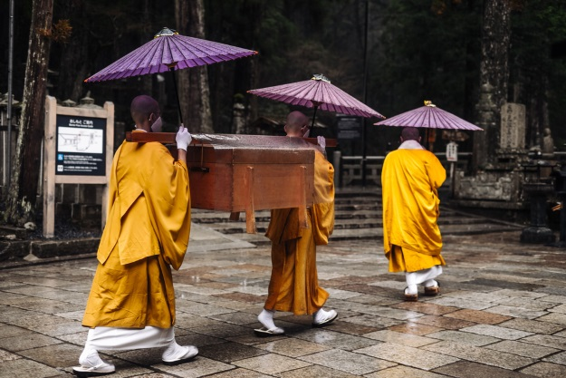 Monks on the holy mountain of Koyasan.