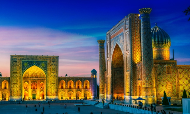 The magnificent Registan at the heart of the Silk Road city of Samarkand.