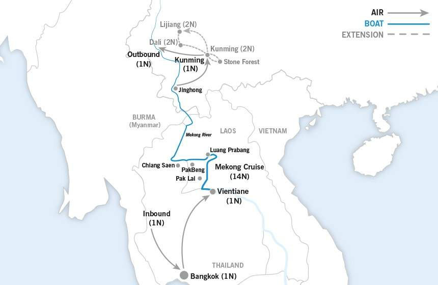 From Laos to China map