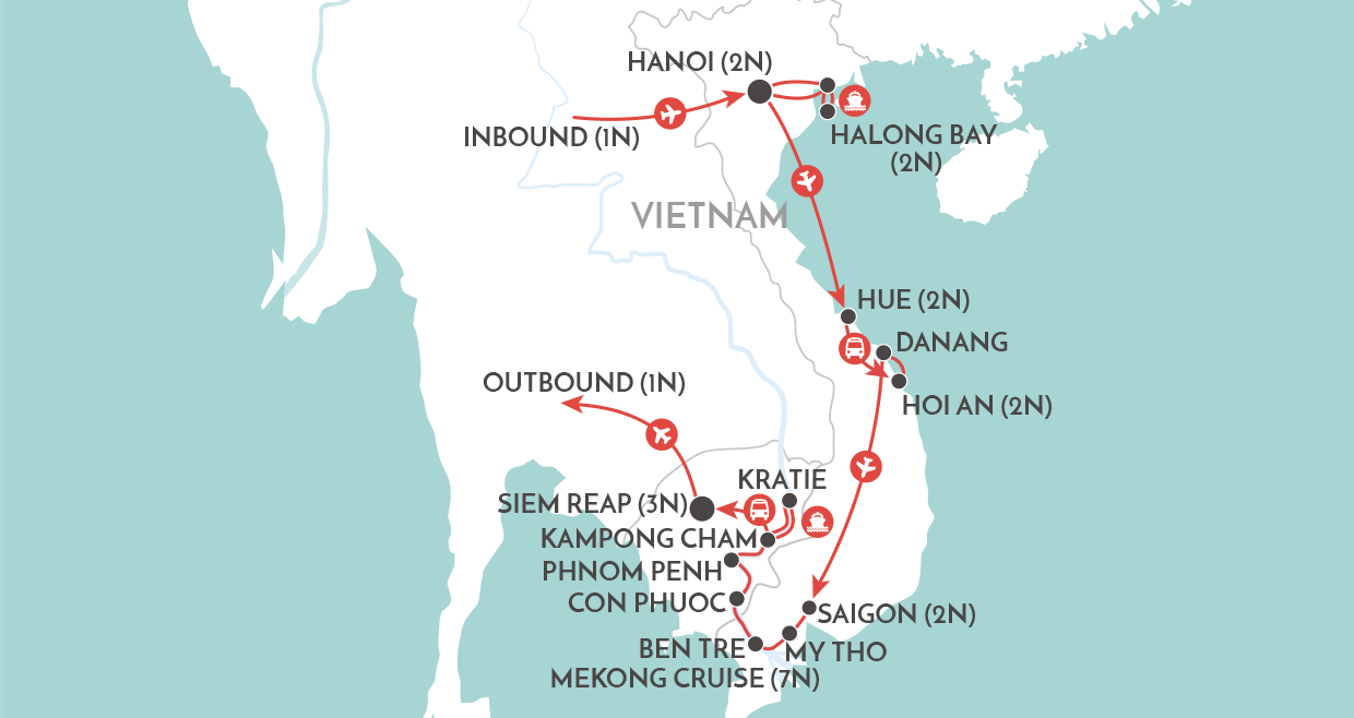 The Majestic Mekong Tour map