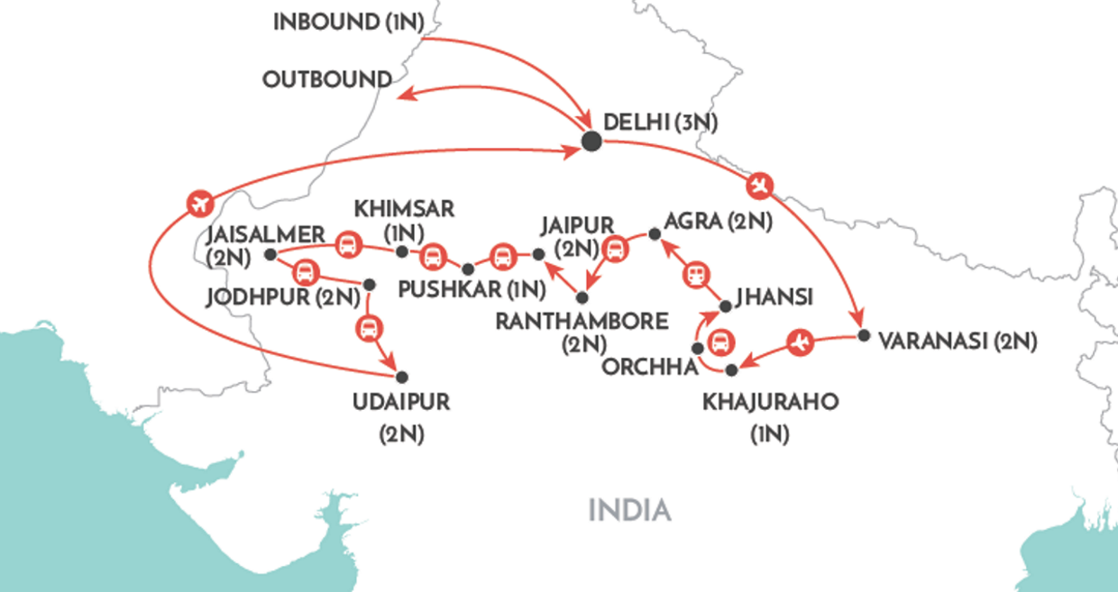 Enticing India Tour map