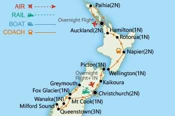 Grand Tour of New Zealand map