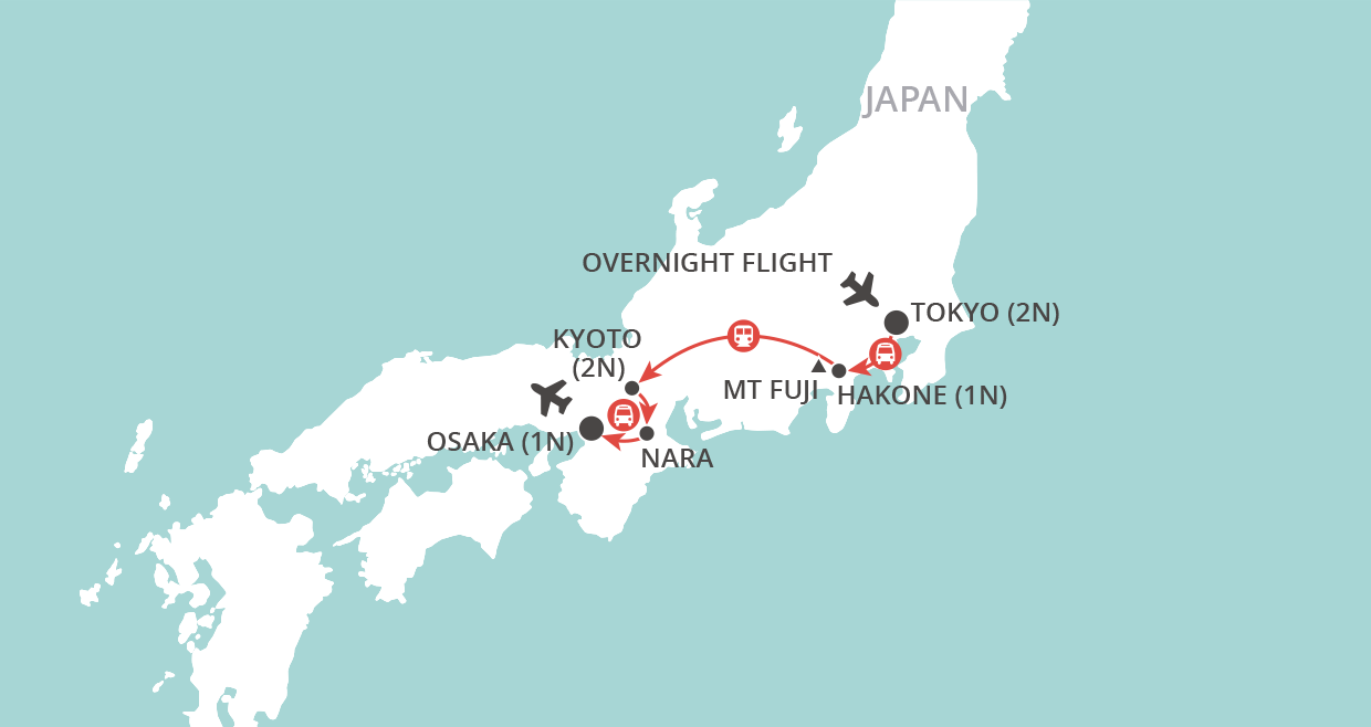 A Week in Japan map