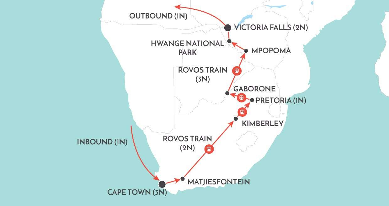 Rovos Rail to Victoria Falls map