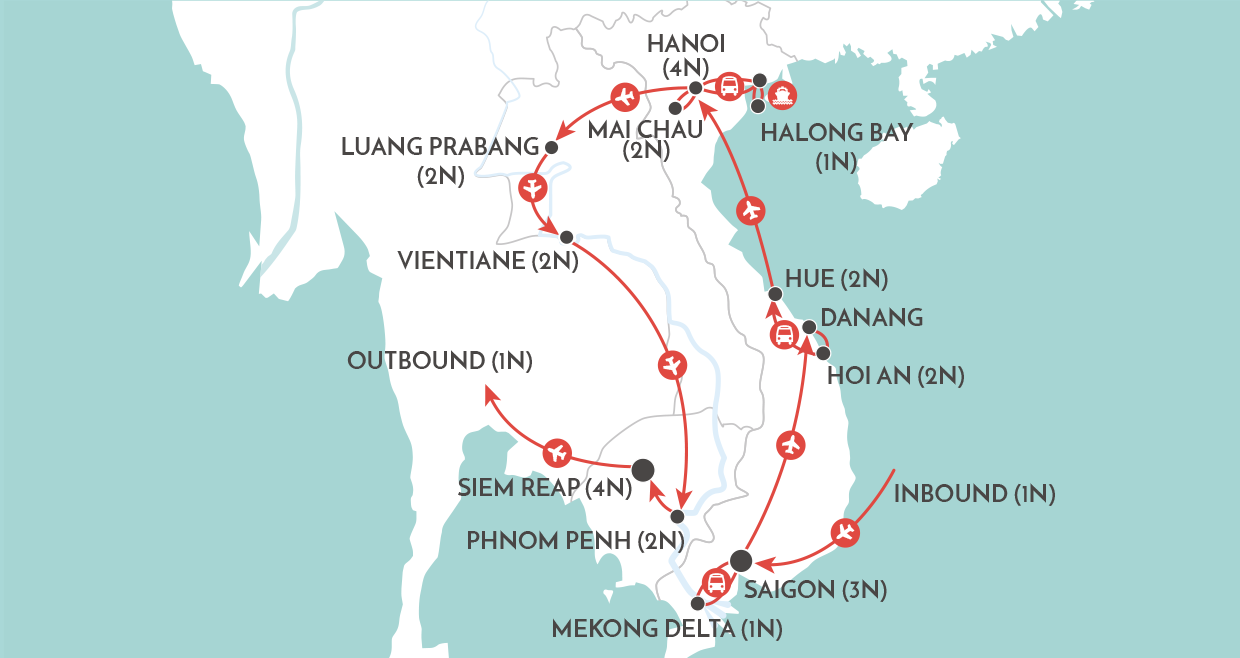 Indochina The Big One Tour map