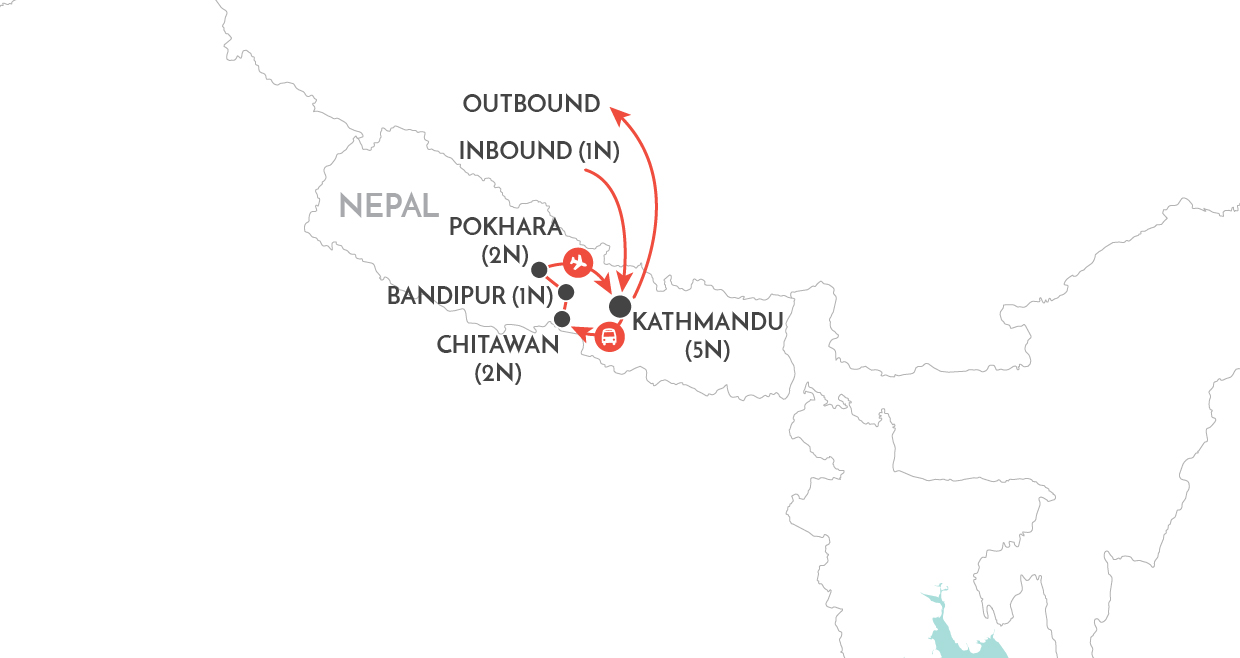 Nepal Uncovered Tour map