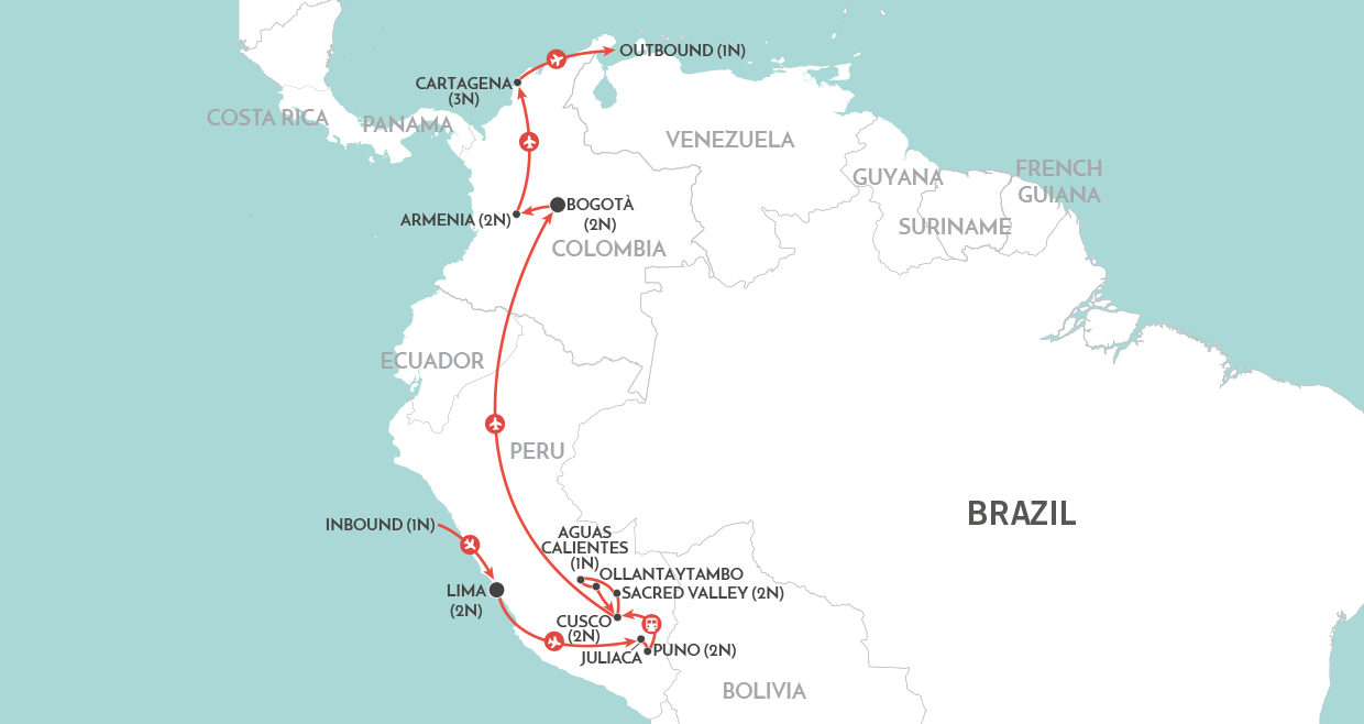 Best of Peru and Colombia Tour map