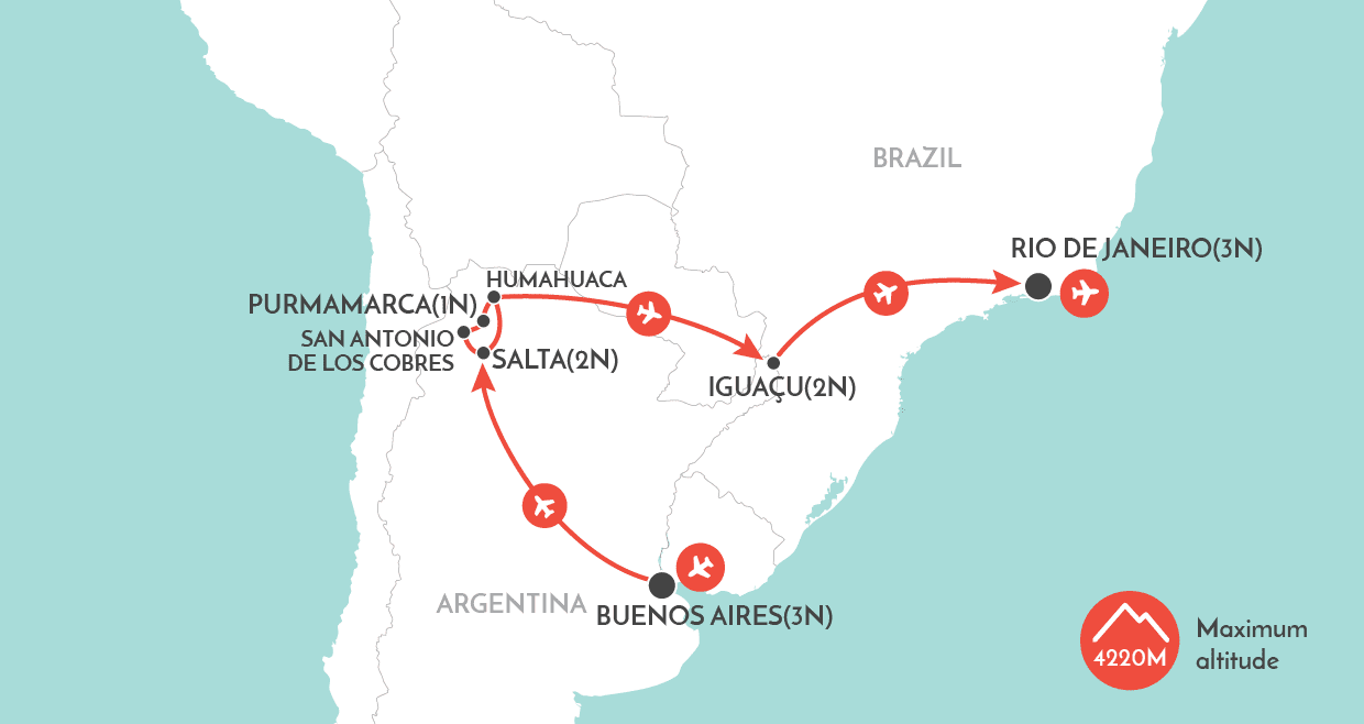 Essence of Argentina and Brazil Tour map
