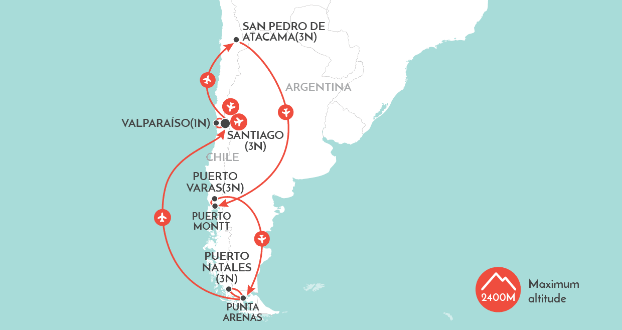 Chile Top to Toe Tour map
