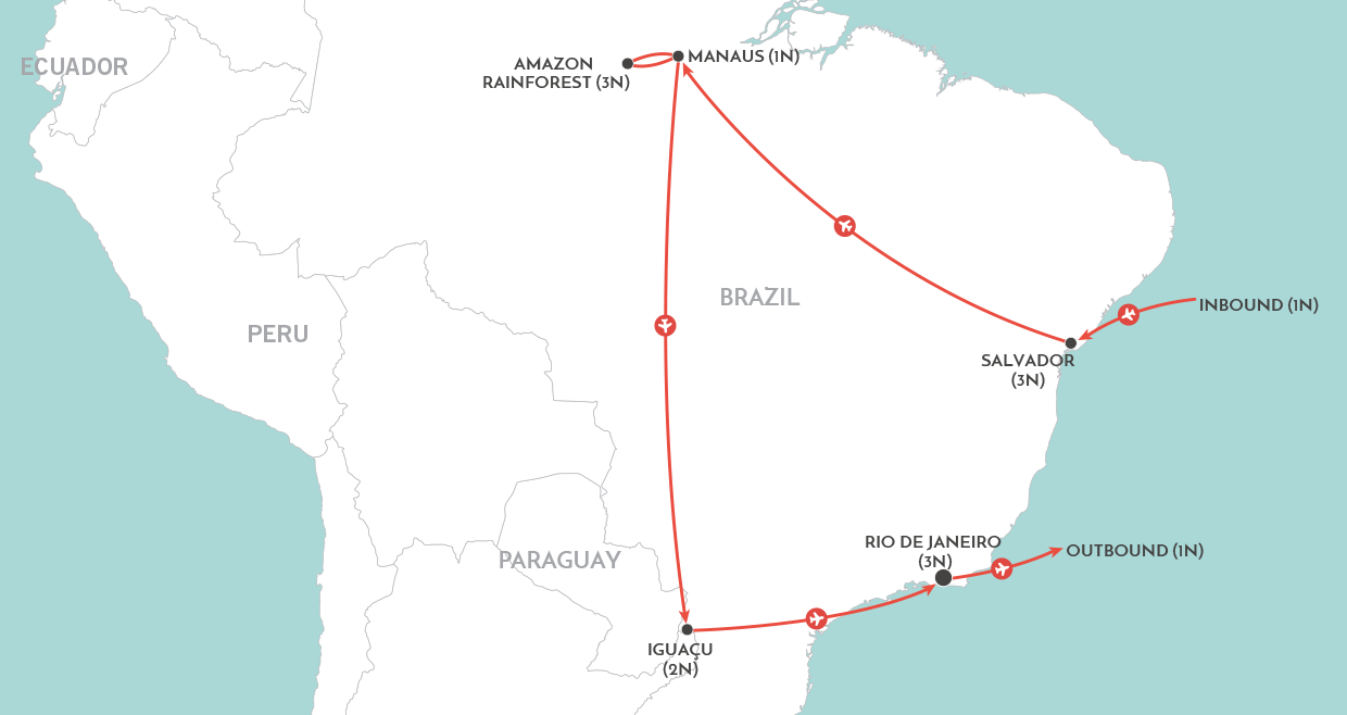 Rhythms of Brazil Tour map