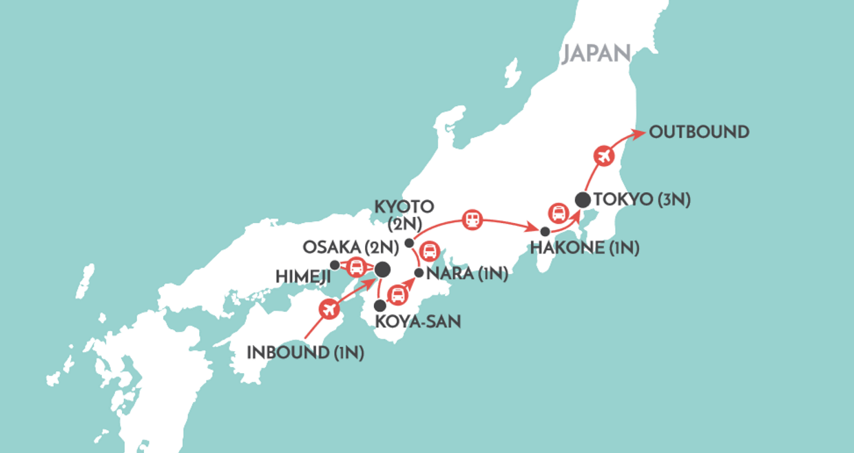 Highlights of Japan map