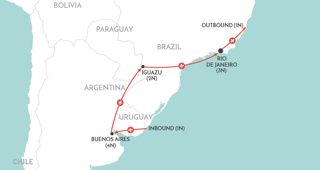 Essence of Argentina & Brazil Tour (from September 2019) map