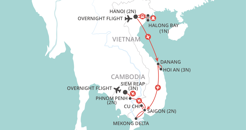 Vietnam & Cambodia Experience map