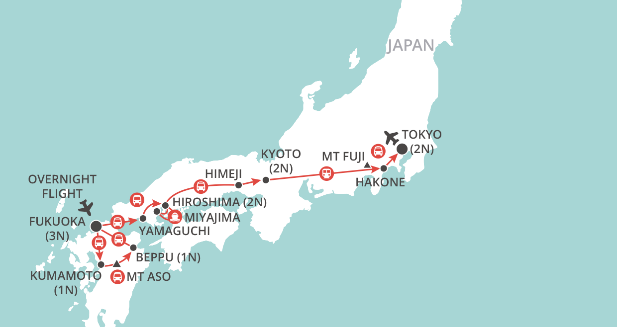 Japan & the Scenic South map
