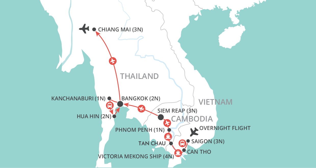 Thailand & Mekong Experience map