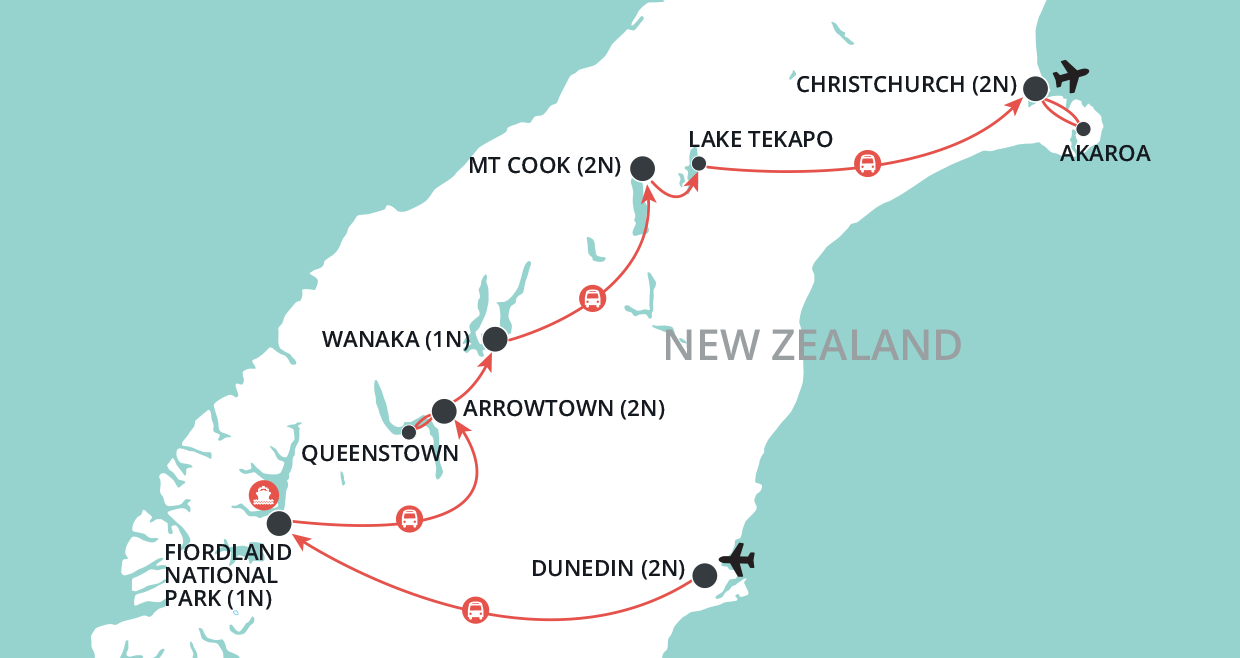 Hidden Gold of the South Island map