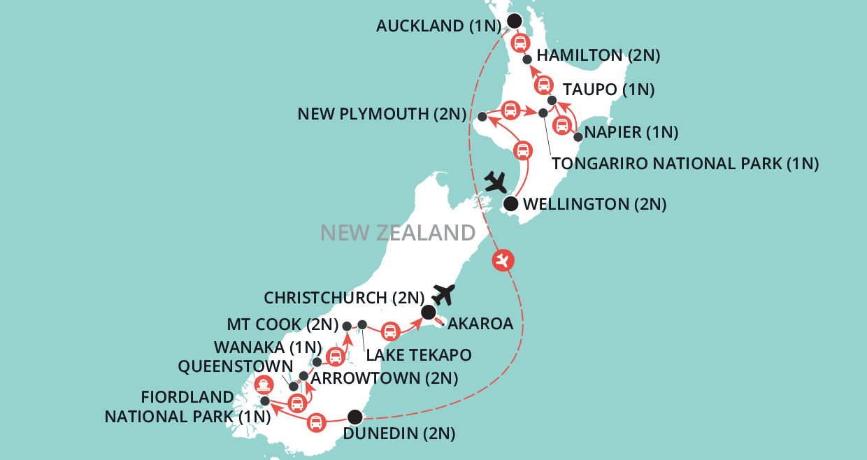 Hidden Treasures of New Zealand map