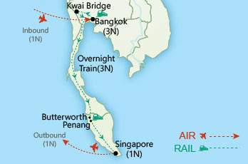 Bangkok to Singapore by Rail map