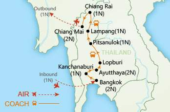 Thailand Land of Smiles map