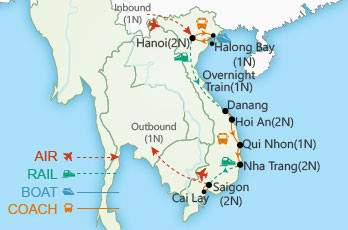 Vietnam by Rail map