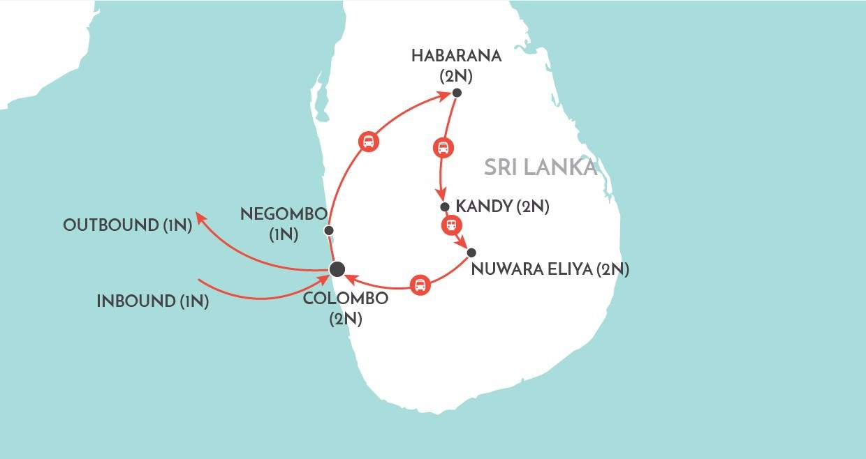 Charms of Sri Lanka Tour map