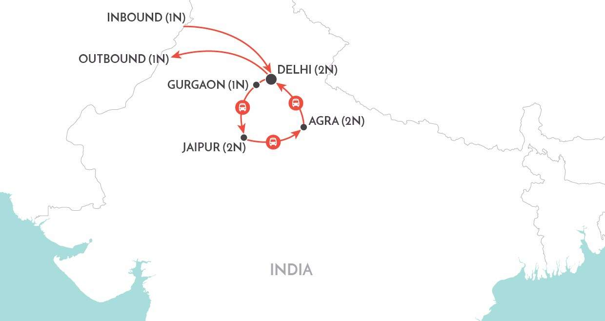 Golden Triangle Private Tour map