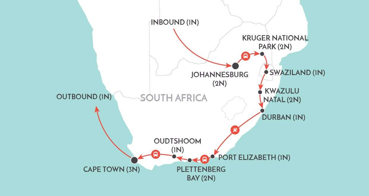 Grand Tour of South Africa map
