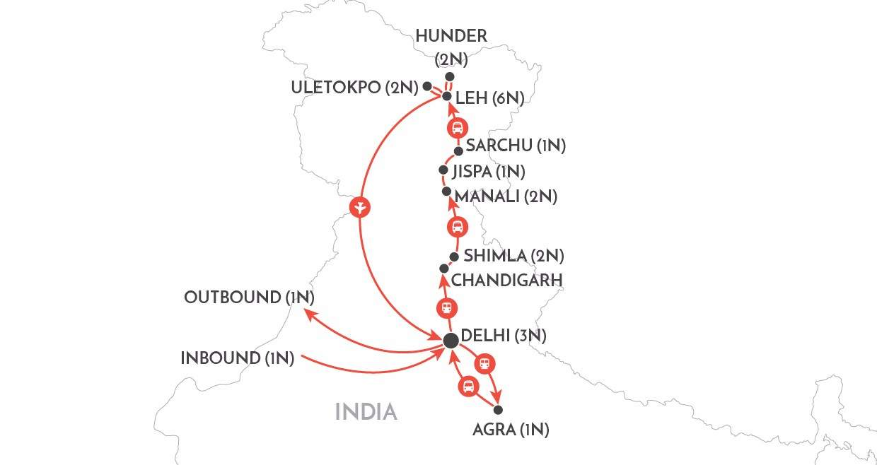 Trans Himalayan Journey Tour map
