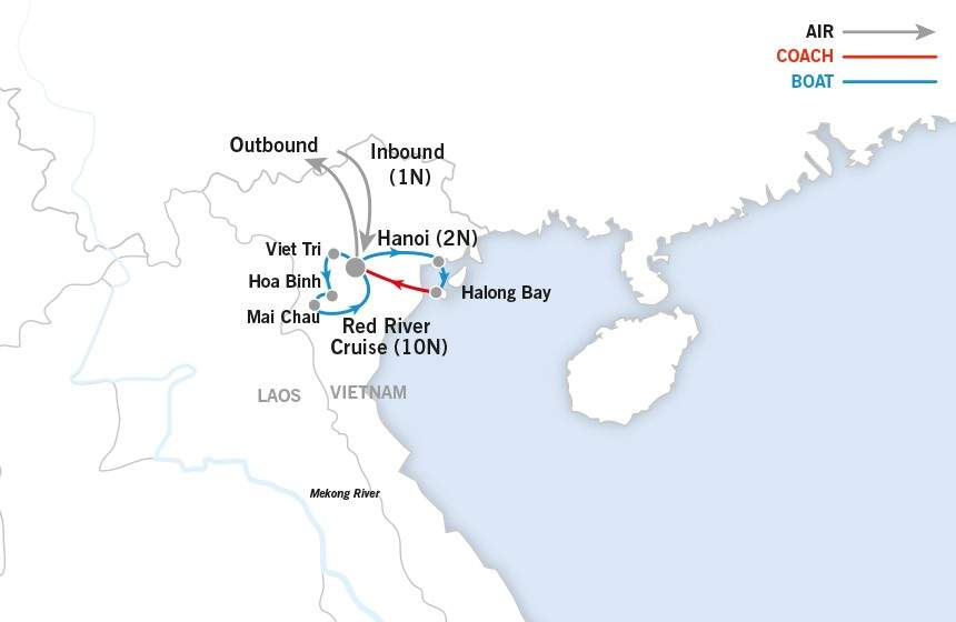 Halong Bay and Red River map