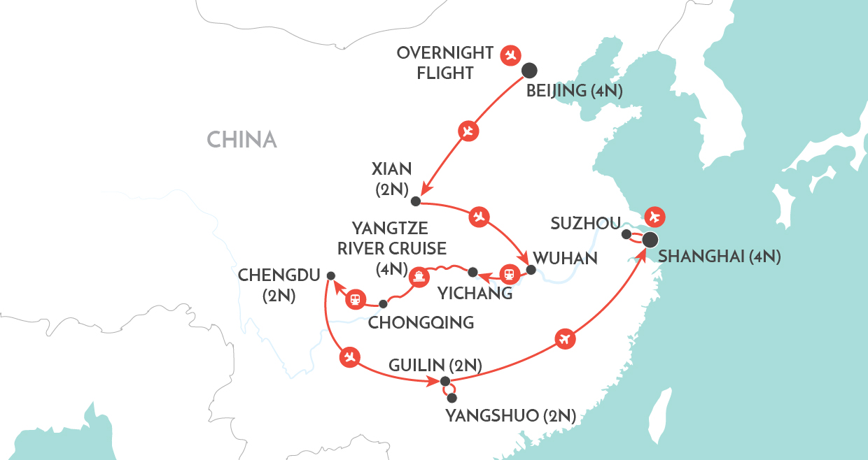 Magnificent China Private Tour map