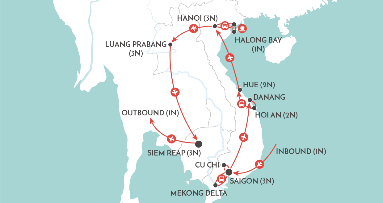 Heart of Indochina Tour map
