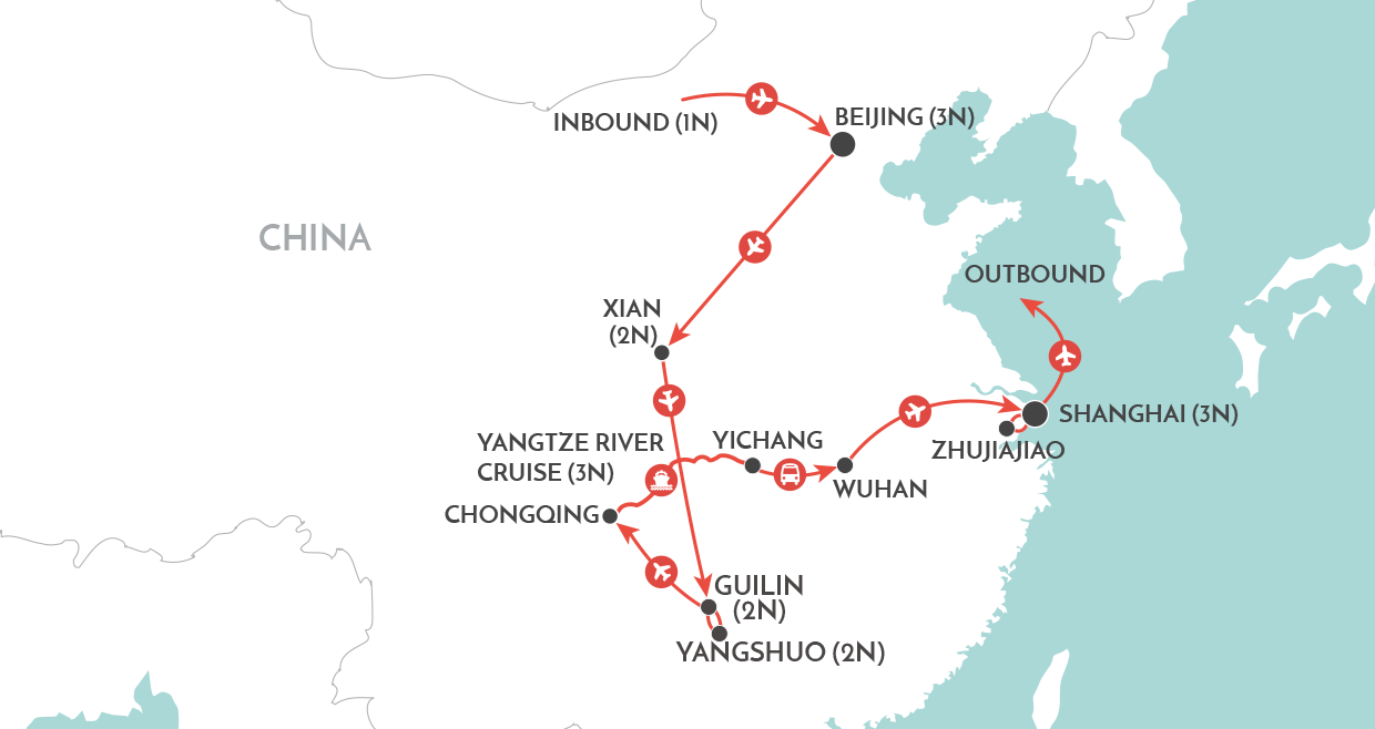 Legends of China Tour map