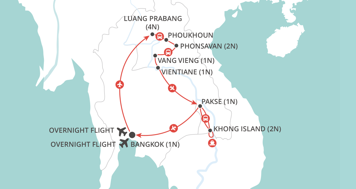Highlights of Laos map
