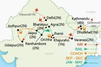 Highlights of India & Nepal map