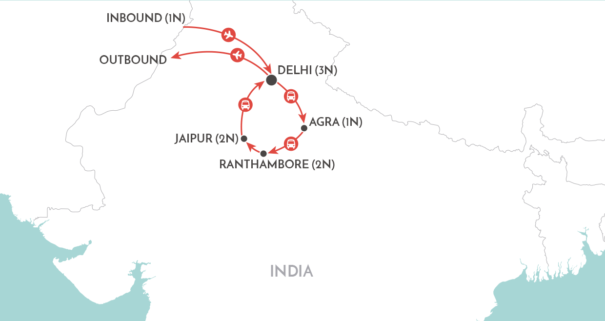 Jewels of India Tour map