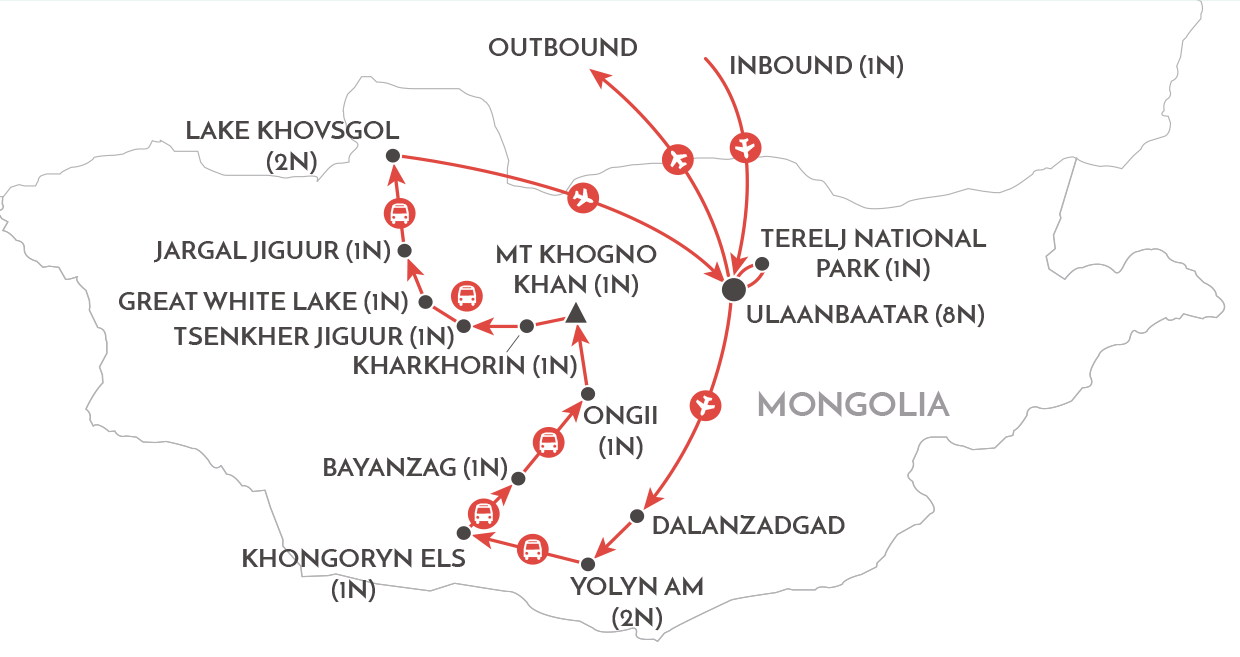 Mongolia and the Naadam Festival Tour map