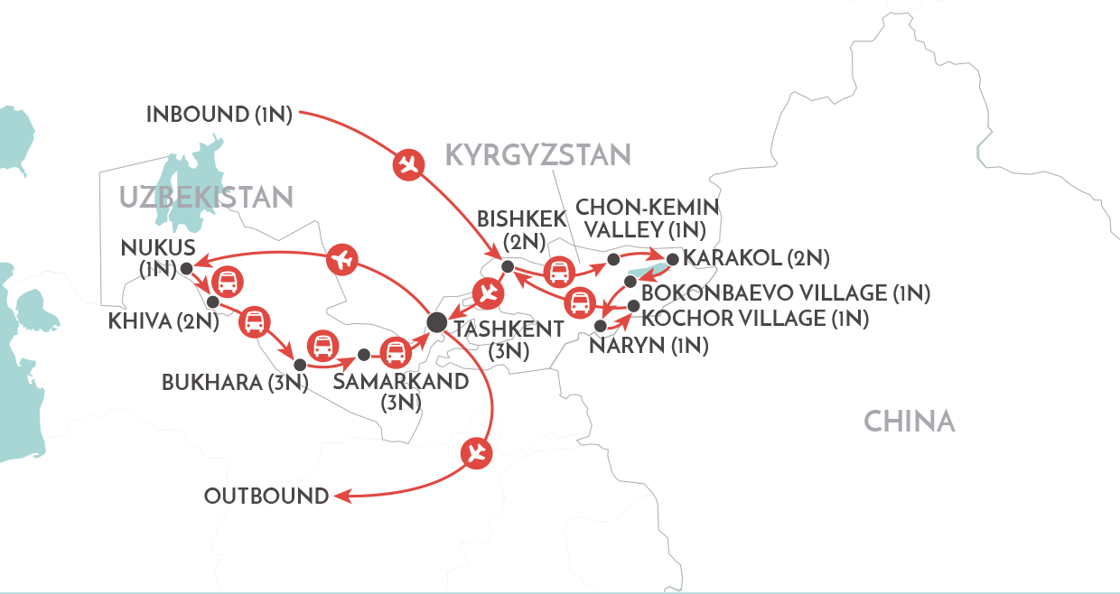 Road to Samarkand Tour map