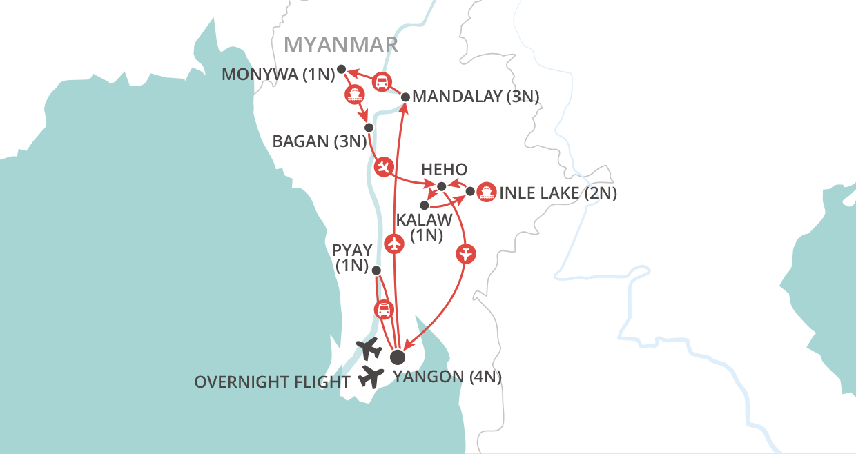 Hidden Treasures of Burma Tour map
