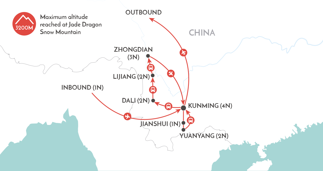 Yunnan Adventure Tour map