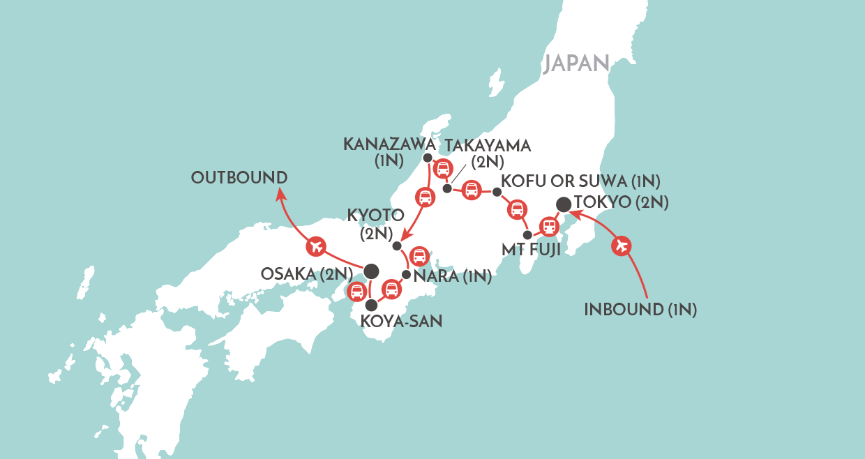 Discover Japan map