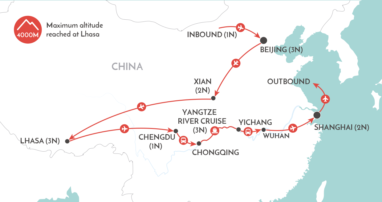 China & Tibet Discovery Tour map