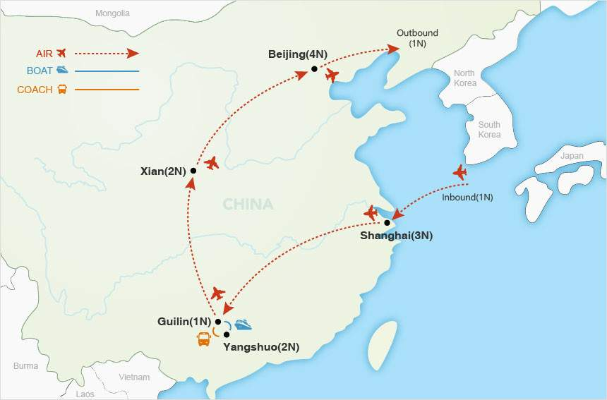 Glories of China Private Tour map