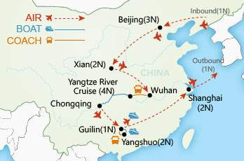 Wonders of China Private Tour map