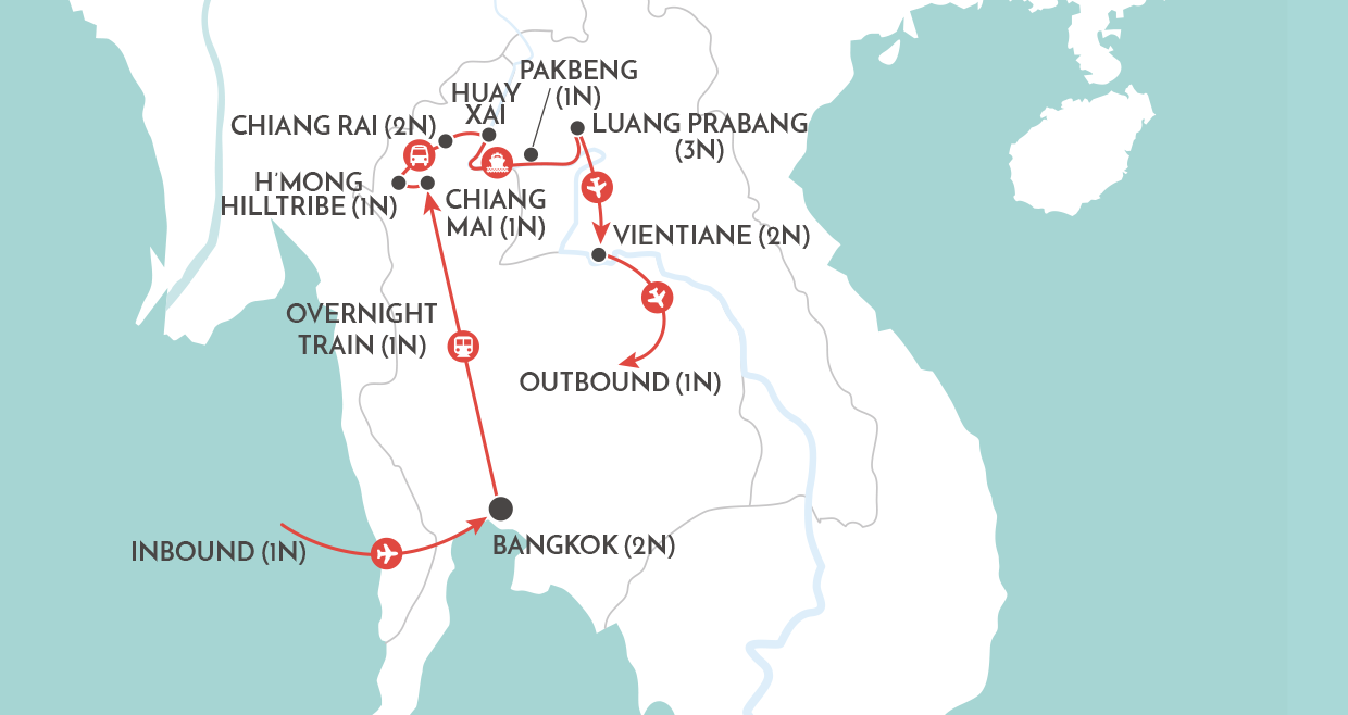Thailand & Laos Adventure Tour map