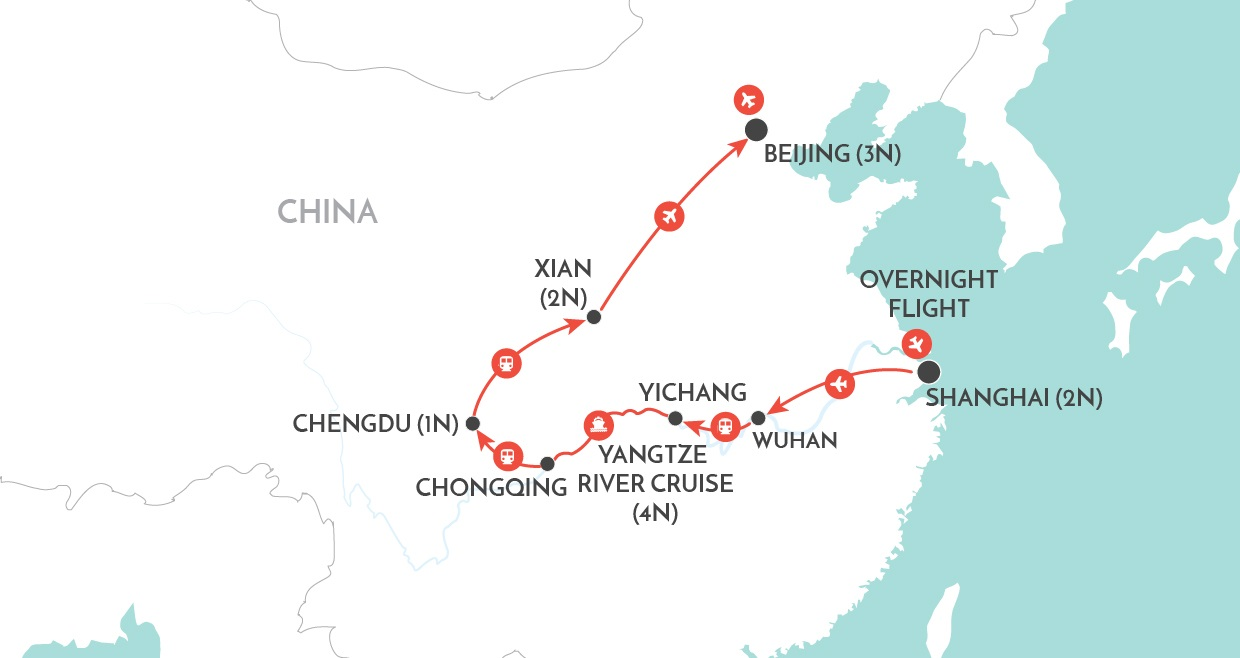 Majestic Yangtze Private Tour map