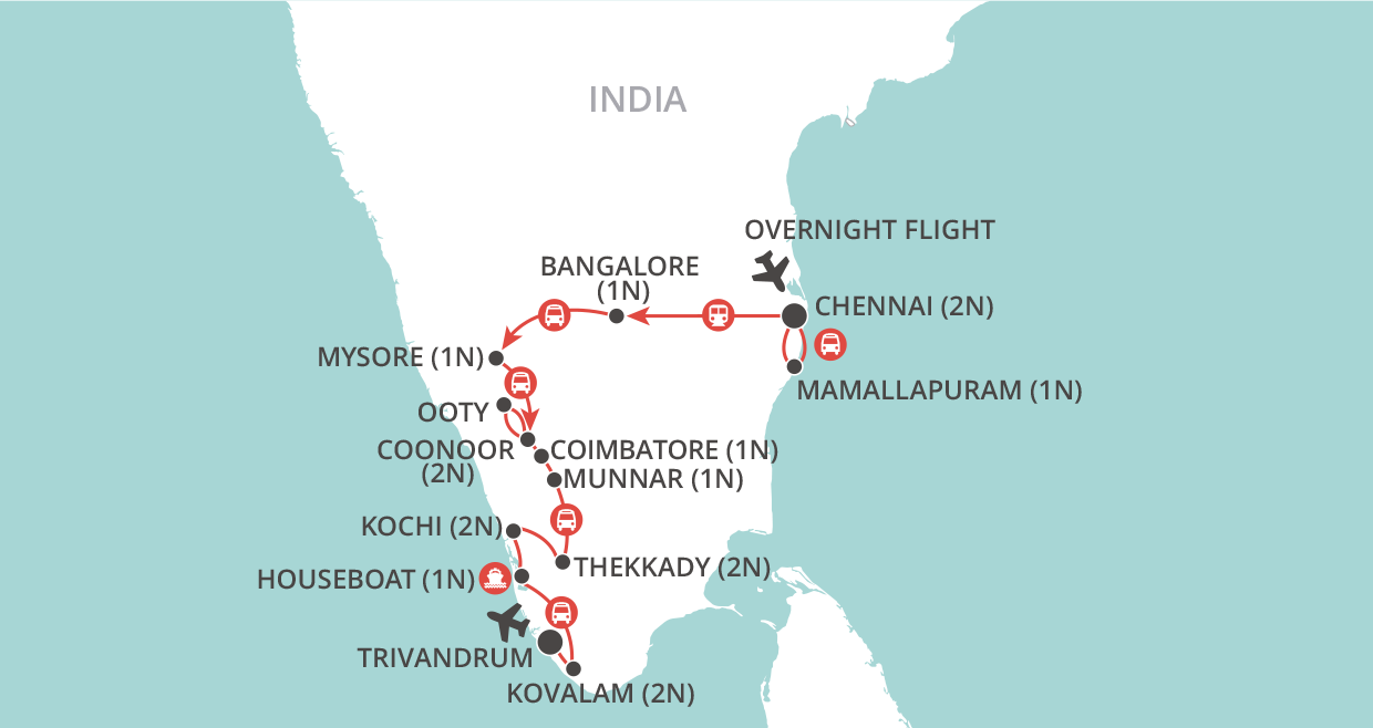 Kerala and the Southern Highlights Tour map