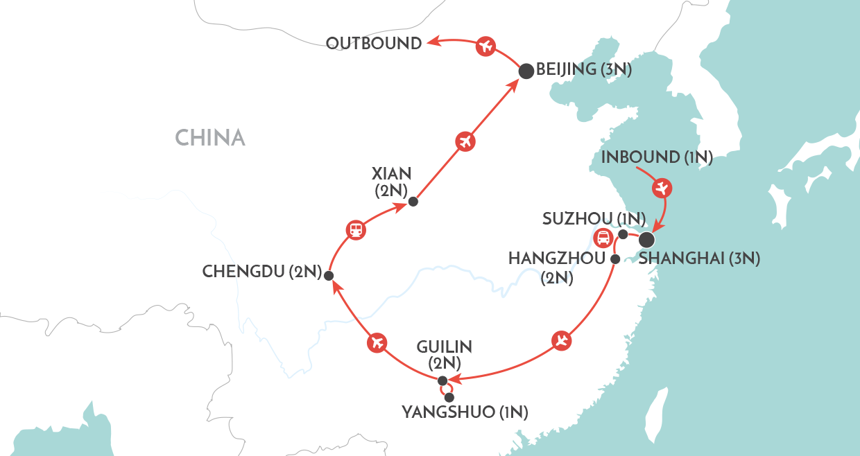 China Delights Tour map